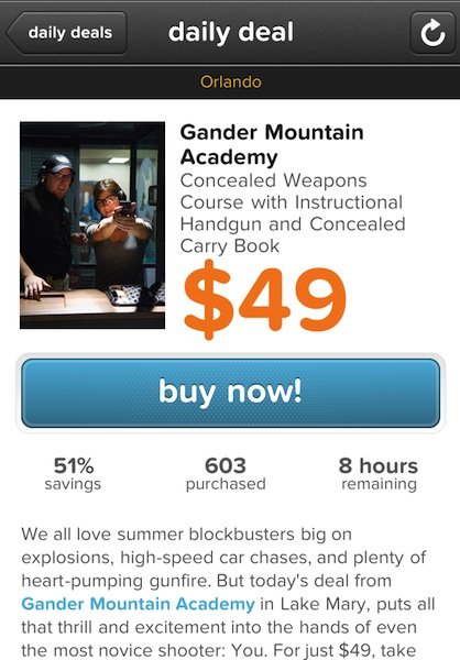 "Concealed Weapons Course is Big Seller on Coupon ""Living Social"" Site"