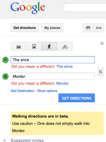 Even Google Knows You Don't Just Walk Into Mordor